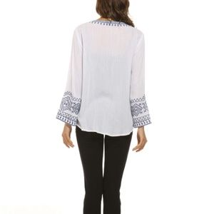 Orange Fashion Village Tops - Embroidered Bell Sleeve Top